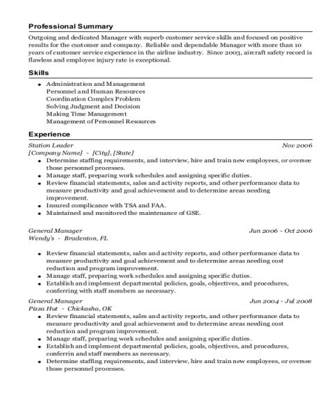 Station Leader resume sample Iowa