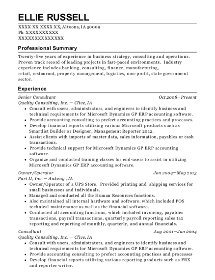 Senior Consultant resume format Iowa
