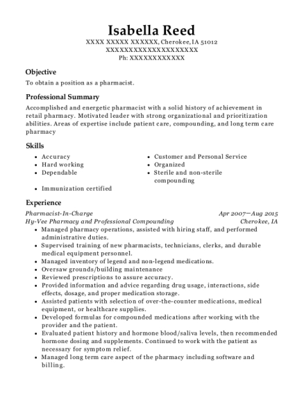 Pharmacist In Charge resume sample Iowa