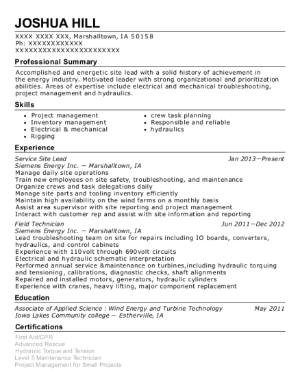 Service Site Lead resume example Iowa