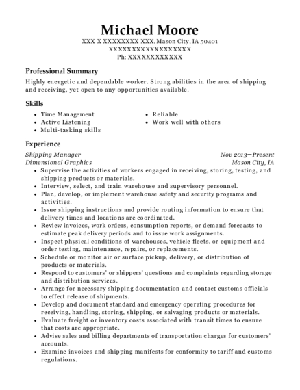Shipping Manager resume sample Iowa