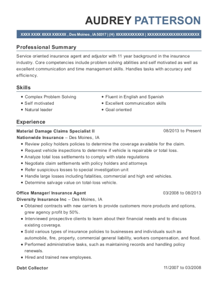 Material Damage Claims Specialist II resume example Iowa