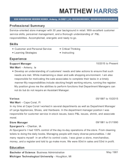 Support Manager resume format Iowa