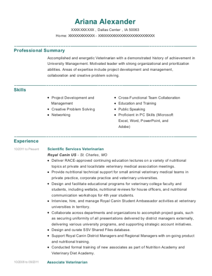 Scientific Services Veterinarian resume sample Iowa
