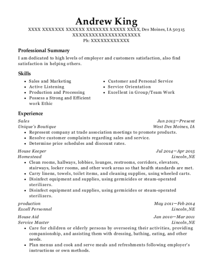 Sales resume example Iowa
