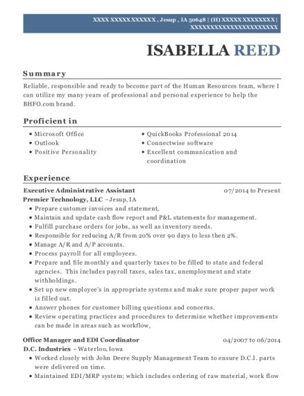 Executive Administrative Assistant resume format Iowa