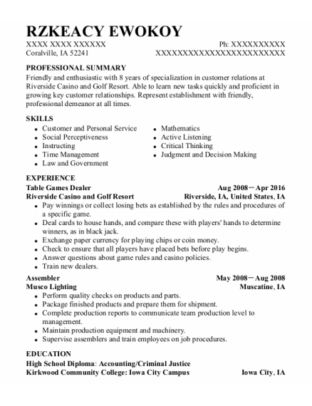 Table Games Dealer resume format Iowa
