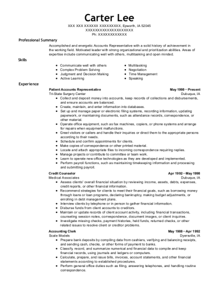 Patient Accounts Representative resume template Iowa