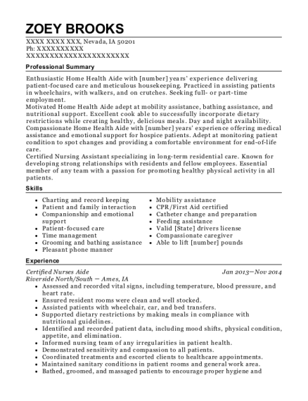 Certified Nurses Aide resume example Iowa