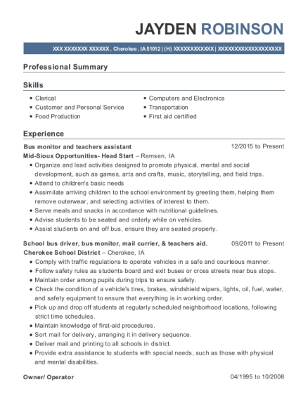 Bus monitor and teachers assistant resume format Iowa