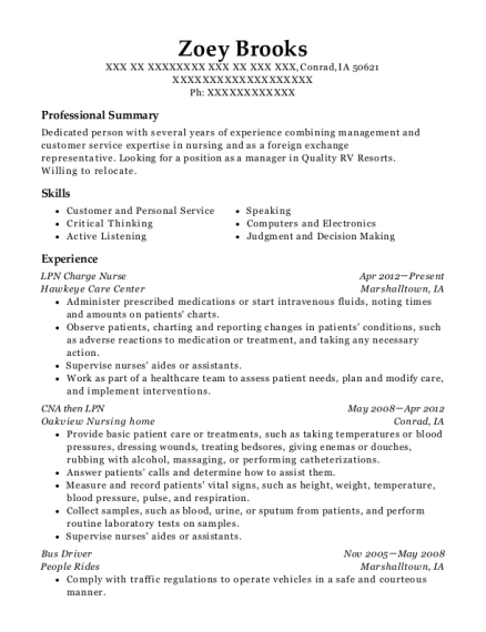 LPN Charge Nurse resume example Iowa