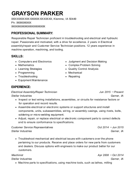 Electrical Assembly resume sample Iowa