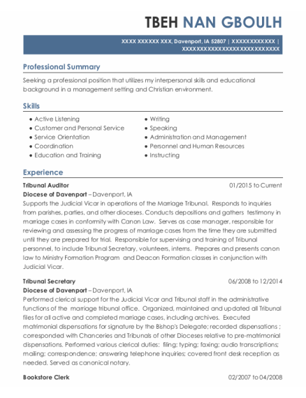 Employment Specialist resume example Iowa