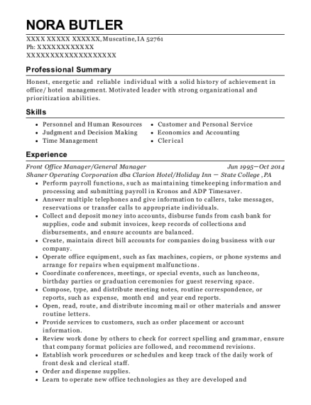 Front Office Manager resume template Iowa
