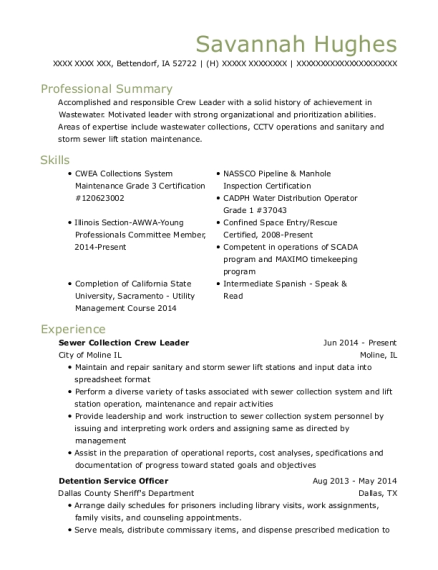 Sewer Collection Crew Leader resume template Iowa