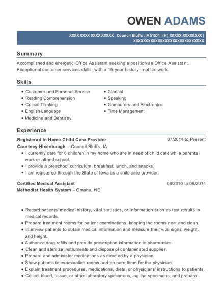 Registered In Home Child Care Provider resume sample Iowa