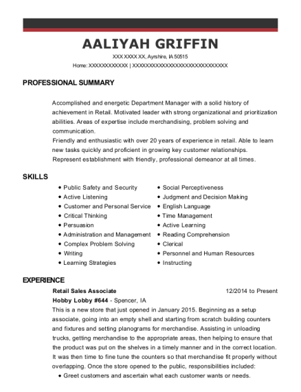 Retail Sales Associate resume example Iowa