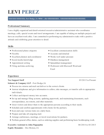 Tax Support Staff resume template Iowa