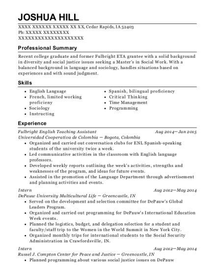 Fulbright English Teaching Assistant resume format Iowa