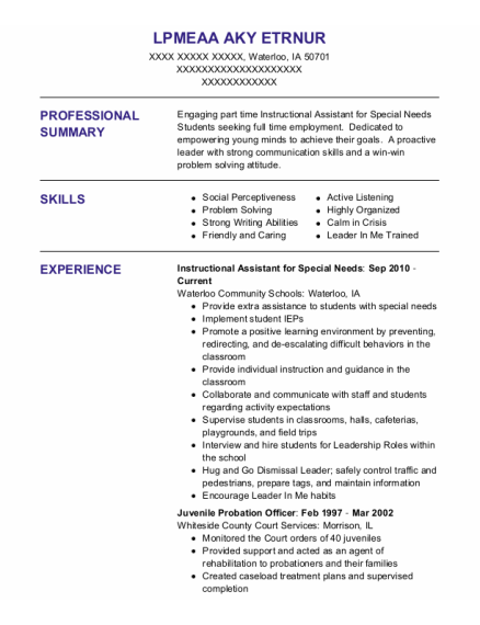 Juvenile Probation Officer resume format Iowa