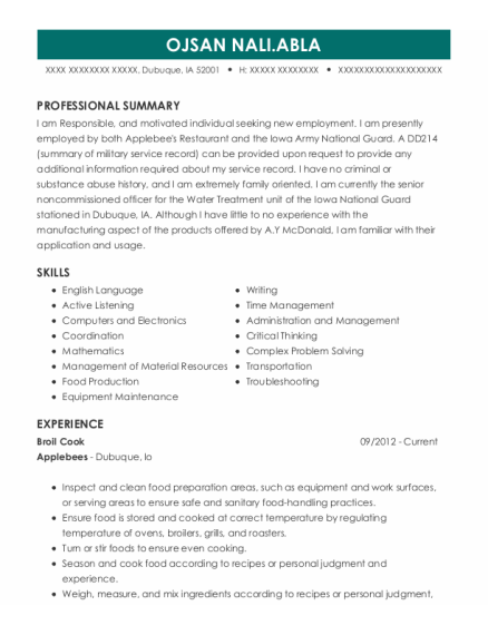 Broil Cook resume template Iowa