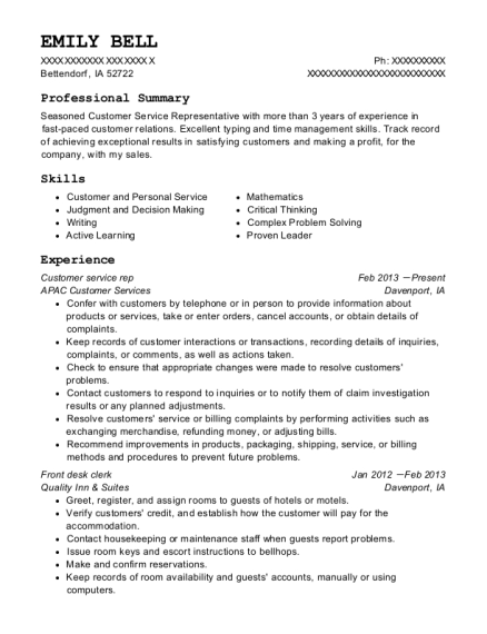Customer service rep resume example Iowa
