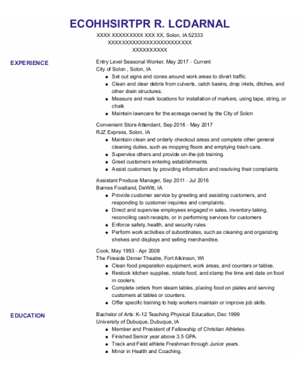 Assistant Produce Manager resume sample Iowa