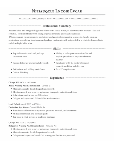 Charge RN resume example Iowa
