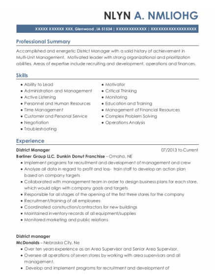 District Manager resume template Iowa