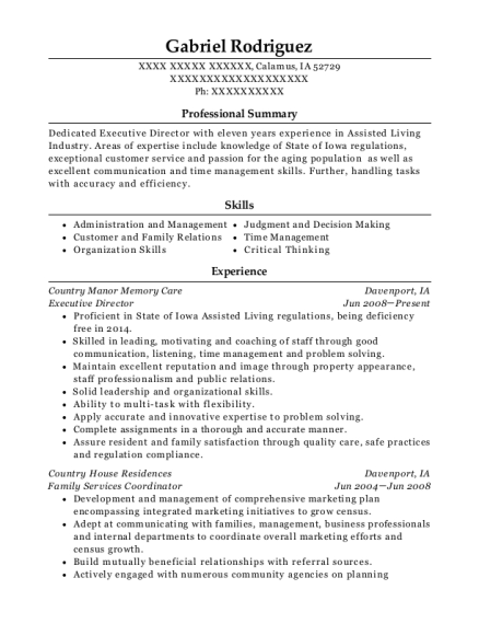 Executive Director resume example Iowa