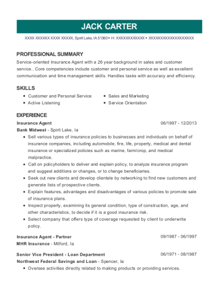 Insurance Agent resume example Iowa