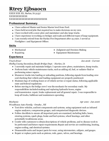 Truck Driver resume sample Iowa