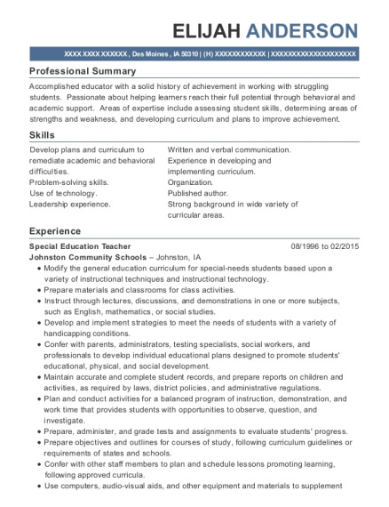 Special Education Teacher resume template Iowa