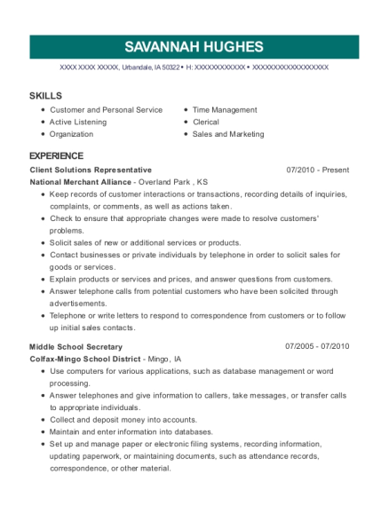 Client Solutions Representative resume format Iowa