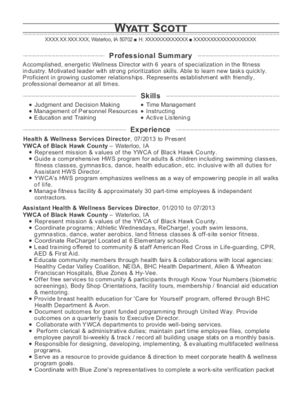 Health & Wellness Services Director resume format Iowa
