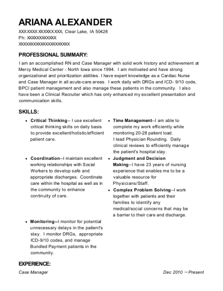 Case Manager resume format Iowa