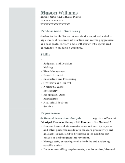 Sr General Accountant Analysis resume template Iowa