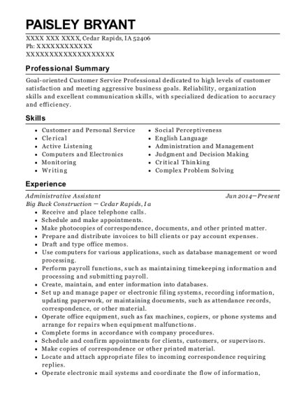 Administrative Assistant resume sample Iowa