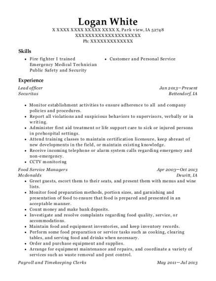 Lead officer resume example Iowa