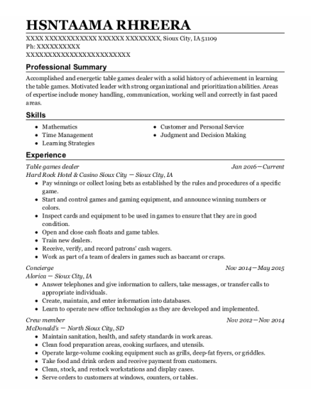 Table Games Dealer resume template Iowa
