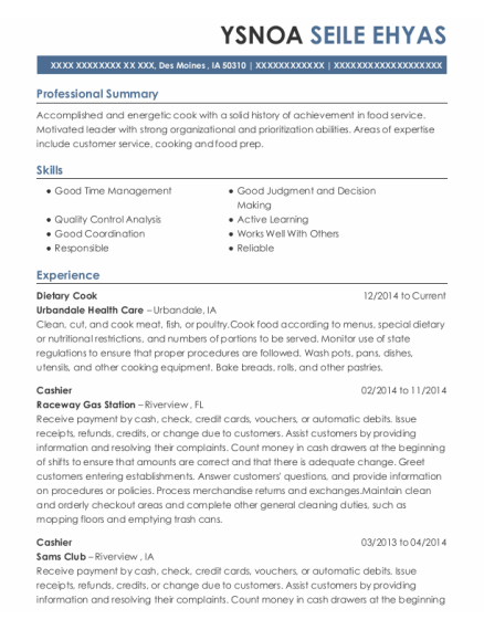 Dietary Cook resume example Iowa