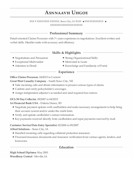 OCL resume example Iowa