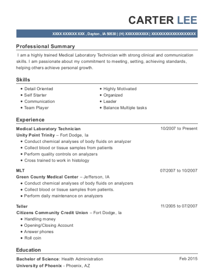 Medical Laboratory Technician resume template Iowa