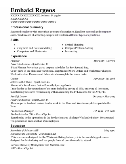Planner resume template Iowa