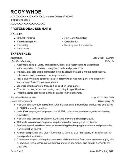 Assembler resume sample Iowa