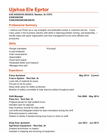 Press Assistant resume template Iowa