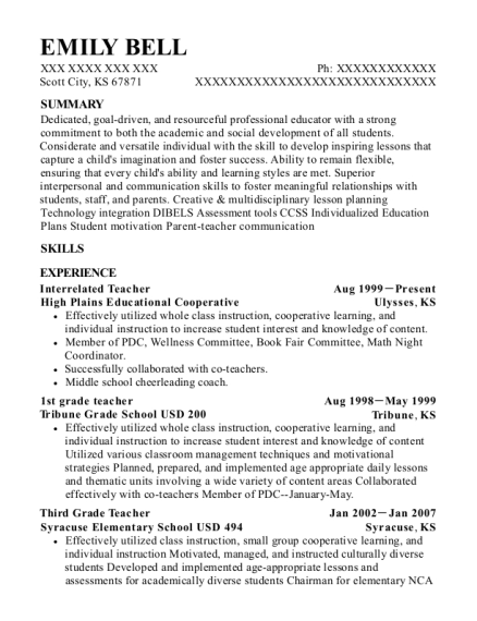 Interrelated Teacher resume format Kansas