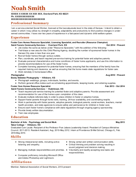 Foster Care Homes Resource Specialist resume template Kansas