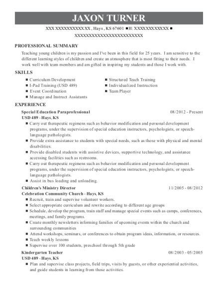 Special Education Paraprofessional resume template Kansas