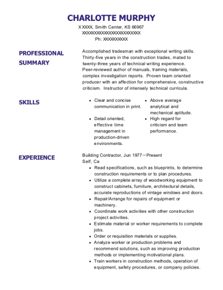 Building Contractor resume example Kansas